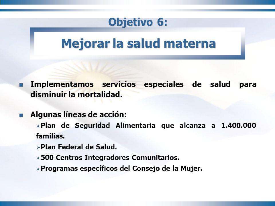 Objetivo 6: Mejorar la salud materna Implementamos servicios especiales de salud para disminuir la mortalidad. Algunas líneas de acción: Plan de Segur