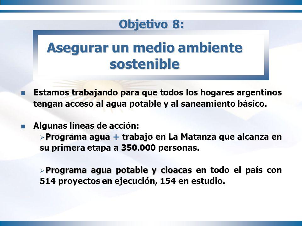 Objetivo 8: Estamos trabajando para que todos los hogares argentinos tengan acceso al agua potable y al saneamiento básico. Algunas líneas de acción: