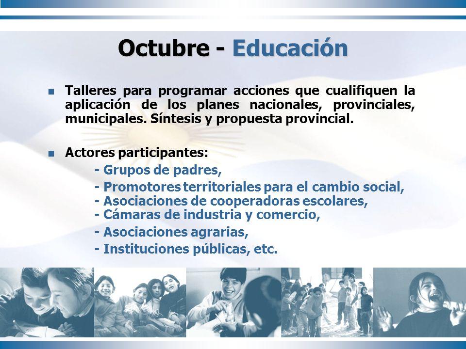 Octubre - Educación Talleres para programar acciones que cualifiquen la aplicación de los planes nacionales, provinciales, municipales. Síntesis y pro