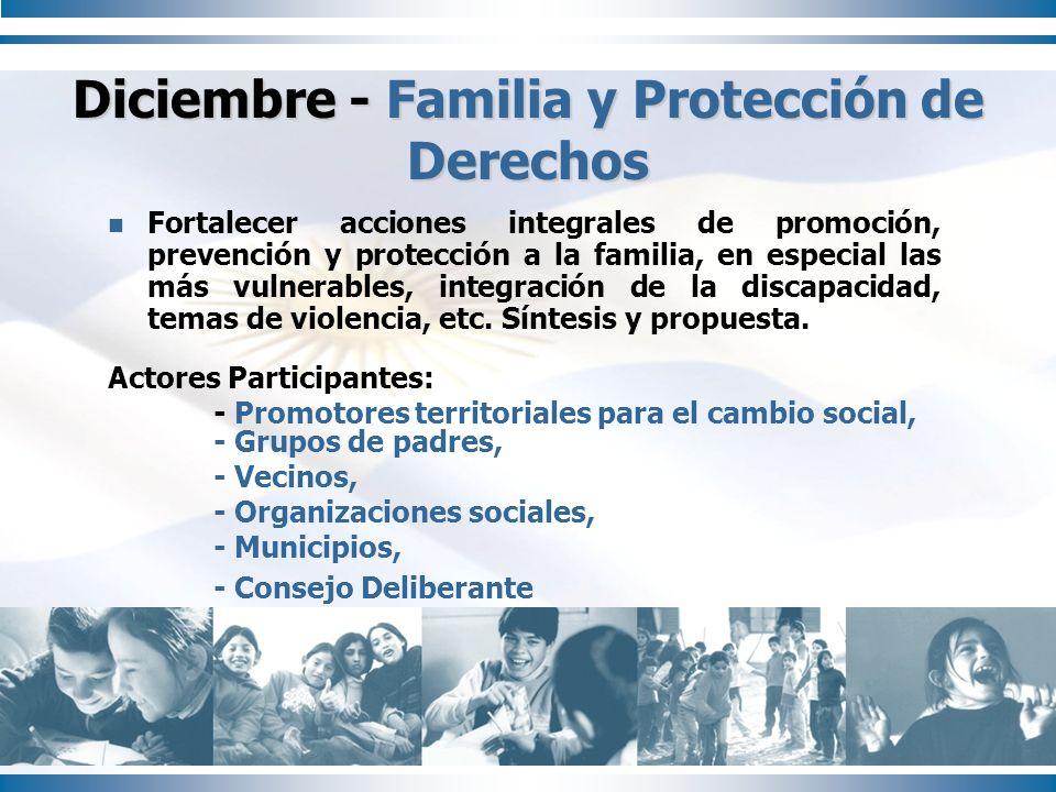 Fortalecer acciones integrales de promoción, prevención y protección a la familia, en especial las más vulnerables, integración de la discapacidad, te