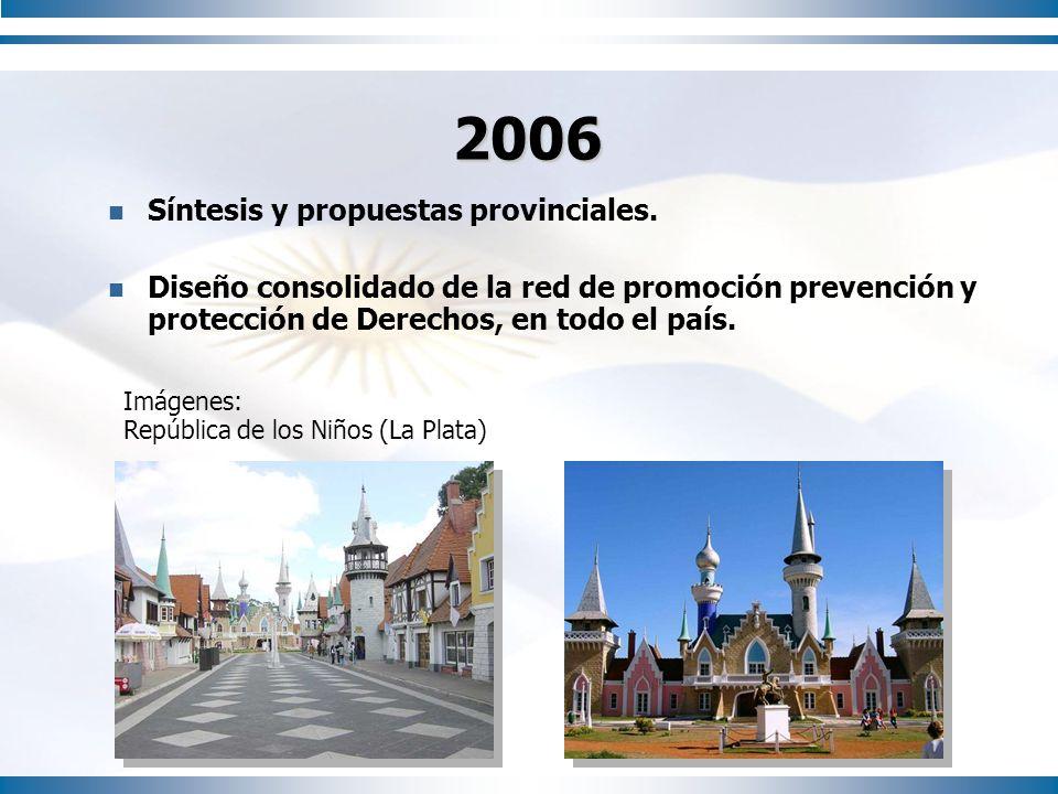 2006 Síntesis y propuestas provinciales. Diseño consolidado de la red de promoción prevención y protección de Derechos, en todo el país. Imágenes: Rep