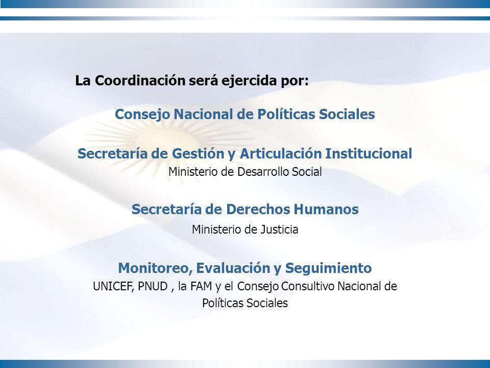 La Coordinación será ejercida por: Consejo Nacional de Políticas Sociales Secretaría de Gestión y Articulación Institucional Ministerio de Desarrollo