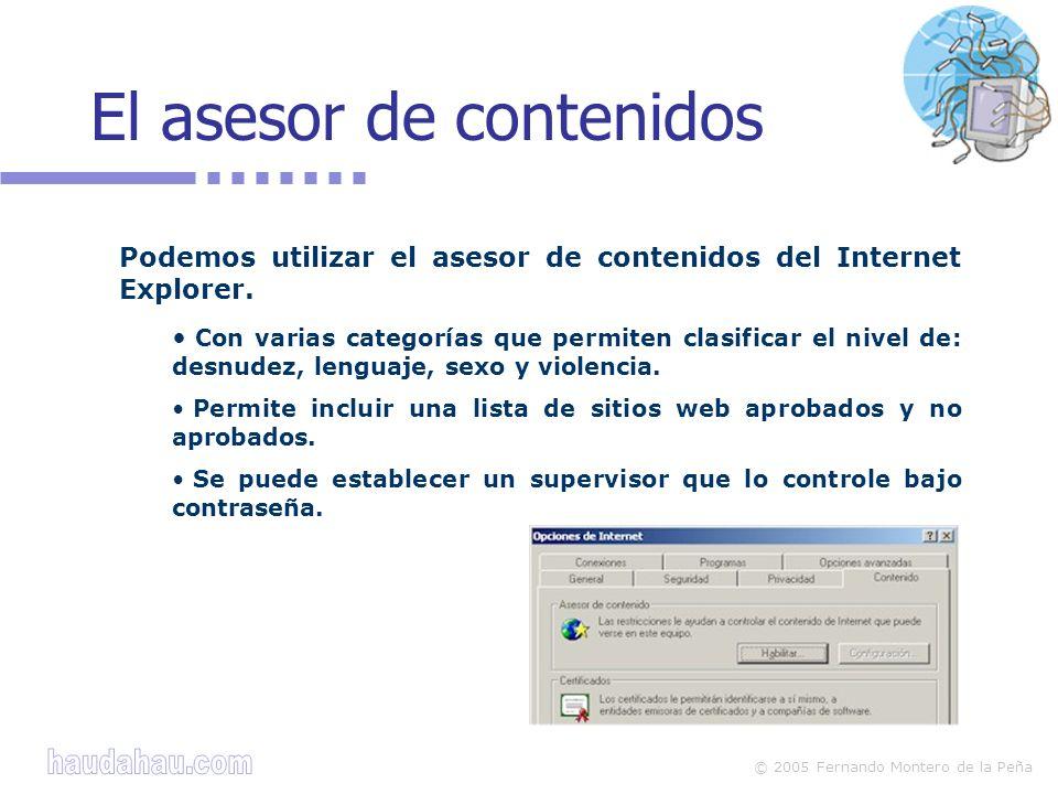 © 2005 Fernando Montero de la Peña El asesor de contenidos Podemos utilizar el asesor de contenidos del Internet Explorer.