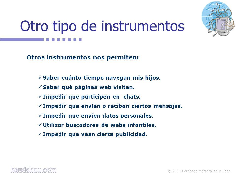 © 2005 Fernando Montero de la Peña Otro tipo de instrumentos Otros instrumentos nos permiten: Saber cuánto tiempo navegan mis hijos.