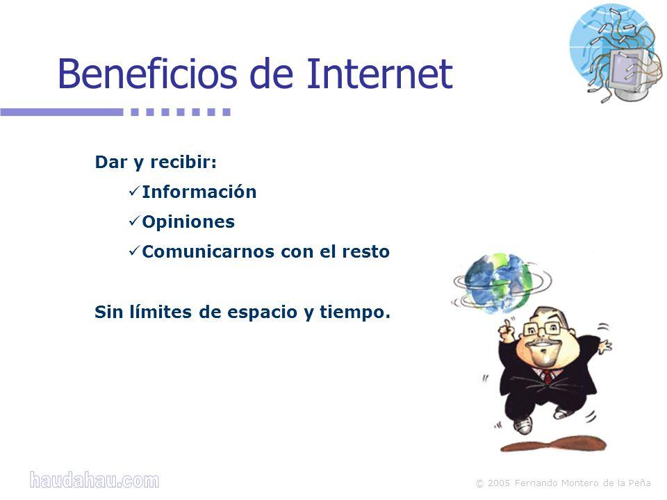 © 2005 Fernando Montero de la Peña Filtros Los filtros impiden accesos a contenido ilegal o nocivo Utilizan diferentes sistemas: por palabras, direcciones web, etiquetas...