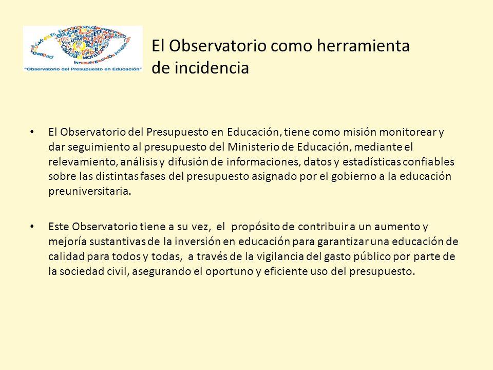 El Observatorio como herramienta de incidencia El Observatorio del Presupuesto en Educación, tiene como misión monitorear y dar seguimiento al presupuesto del Ministerio de Educación, mediante el relevamiento, análisis y difusión de informaciones, datos y estadísticas confiables sobre las distintas fases del presupuesto asignado por el gobierno a la educación preuniversitaria.