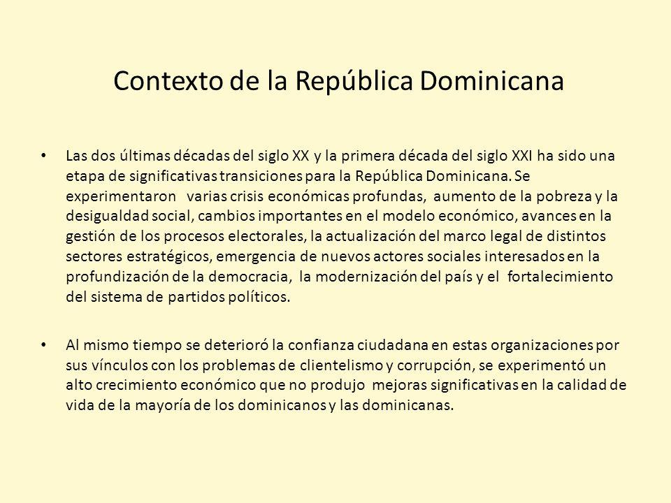 Contexto de la República Dominicana Las dos últimas décadas del siglo XX y la primera década del siglo XXI ha sido una etapa de significativas transiciones para la República Dominicana.
