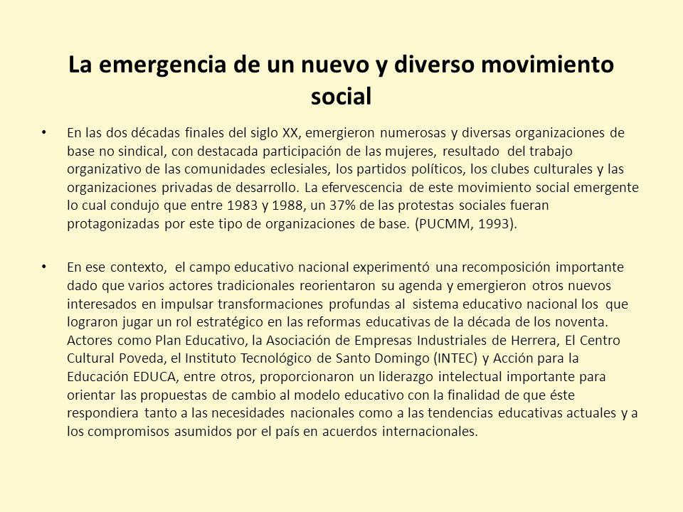 La emergencia de un nuevo y diverso movimiento social En las dos décadas finales del siglo XX, emergieron numerosas y diversas organizaciones de base