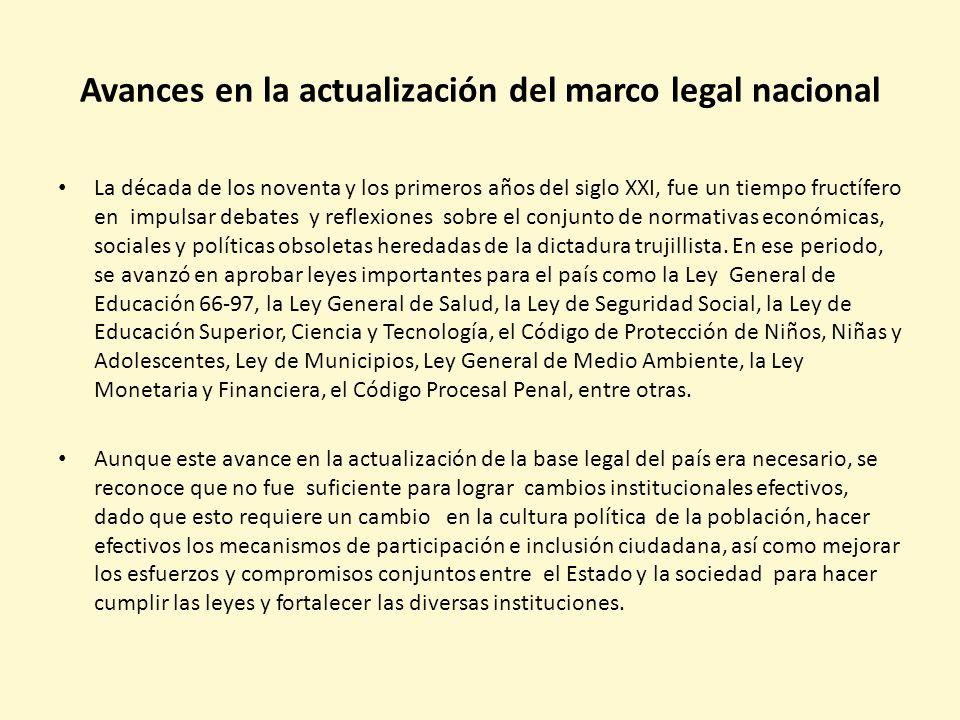 Avances en la actualización del marco legal nacional La década de los noventa y los primeros años del siglo XXI, fue un tiempo fructífero en impulsar