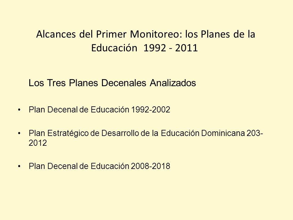 Alcances del Primer Monitoreo: los Planes de la Educación 1992 - 2011 Los Tres Planes Decenales Analizados Plan Decenal de Educación 1992-2002 Plan Estratégico de Desarrollo de la Educación Dominicana 203- 2012 Plan Decenal de Educación 2008-2018
