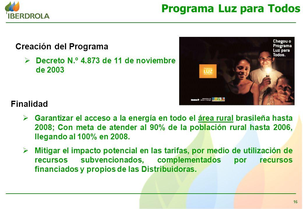 16 Programa Luz para Todos Creación del Programa Decreto N.º 4.873 de 11 de noviembre de 2003 Finalidad Garantizar el acceso a la energía en todo el área rural brasileña hasta 2008; Con meta de atender al 90% de la población rural hasta 2006, llegando al 100% en 2008.