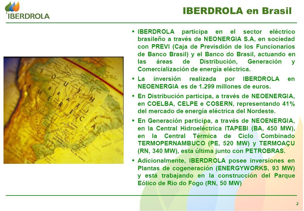 2 IBERDROLA participa en el sector eléctrico brasileño a través de NEONERGIA S.A, en sociedad con PREVI (Caja de Previsdión de los Funcionarios de Banco Brasil) y el Banco do Brasil, actuando en las áreas de Distribución, Generación y Comercialización de energía eléctrica.