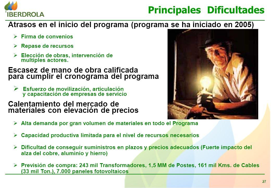 27 Principales Dificultades Atrasos en el inicio del programa (programa se ha iniciado en 2005) Firma de convenios Repase de recursos Elección de obras, intervención de multiples actores.