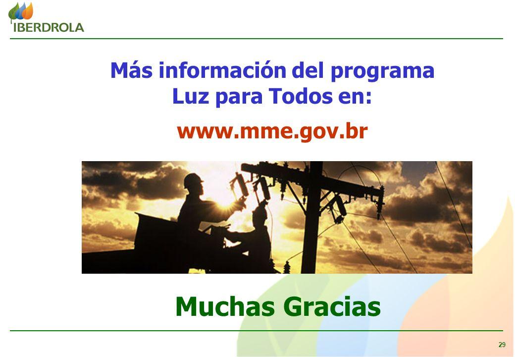 29 Muchas Gracias Más información del programa Luz para Todos en: www.mme.gov.br
