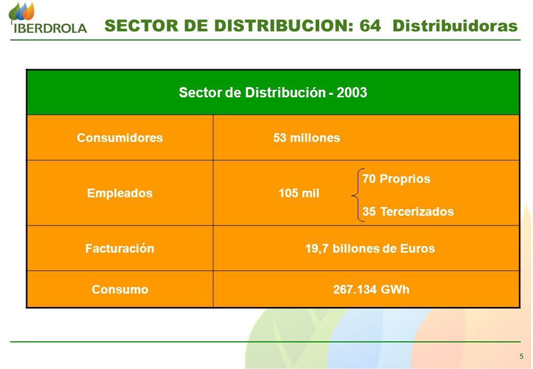 5 SECTOR DE DISTRIBUCION: 64 Distribuidoras Sector de Distribución - 2003 Consumidores 53 millones Empleados 105 mil 70 Proprios 35 Tercerizados Facturación 19,7 billones de Euros Consumo 267.134 GWh