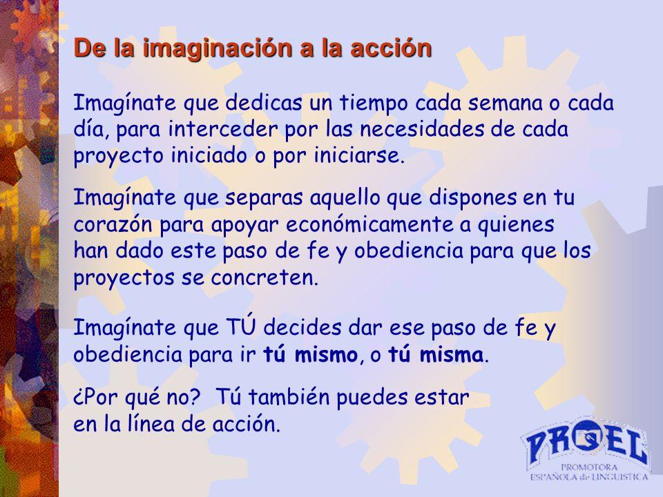 De la imaginación a la acción Imagínate que dedicas un tiempo cada semana o cada día, para interceder por las necesidades de cada proyecto iniciado o