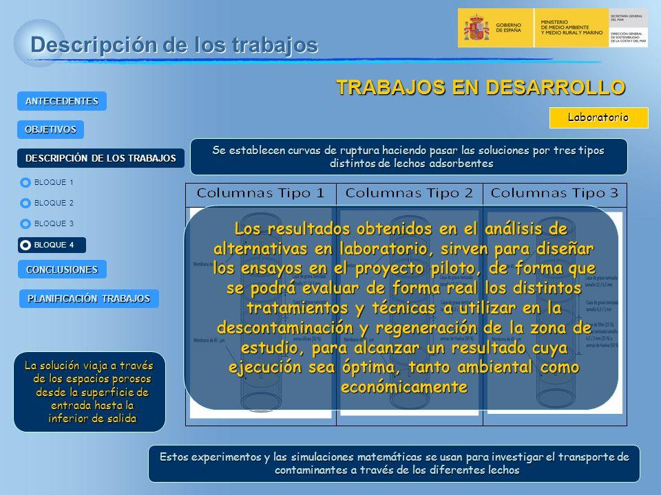 BLOQUE 2 BLOQUE 4 BLOQUE 1 BLOQUE 3 ANTECEDENTES OBJETIVOS DESCRIPCIÓN DE LOS TRABAJOS CONCLUSIONES PLANIFICACIÓN TRABAJOS Descripción de los trabajos