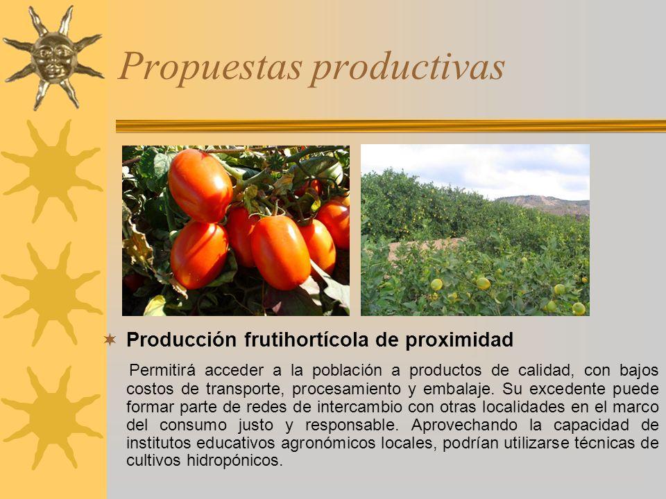 Propuestas productivas Producción frutihortícola de proximidad Permitirá acceder a la población a productos de calidad, con bajos costos de transporte
