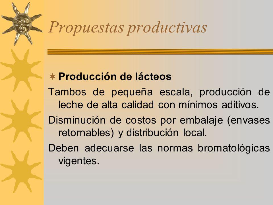 Propuestas productivas Producción de lácteos Tambos de pequeña escala, producción de leche de alta calidad con mínimos aditivos. Disminución de costos