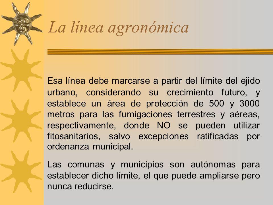 La línea agronómica ACLARACIÓN MUY IMPORTANTE La ley 11.273 sólo regula el uso de los fitosanitarios a partir de la línea agronómica.