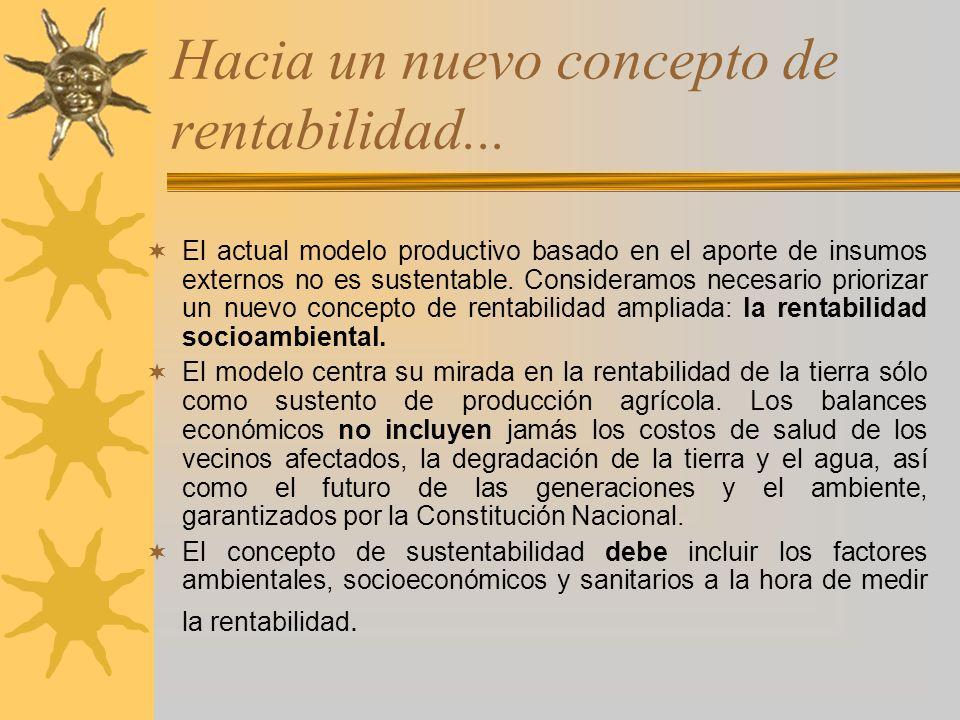 Hacia un nuevo concepto de rentabilidad... El actual modelo productivo basado en el aporte de insumos externos no es sustentable. Consideramos necesar