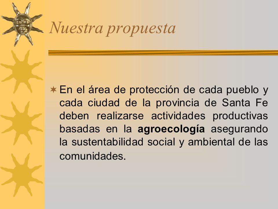 Nuestra propuesta En el área de protección de cada pueblo y cada ciudad de la provincia de Santa Fe deben realizarse actividades productivas basadas e