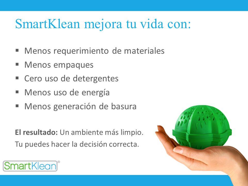 SmartKlean mejora tu vida con: Menos requerimiento de materiales Menos empaques Cero uso de detergentes Menos uso de energía Menos generación de basur
