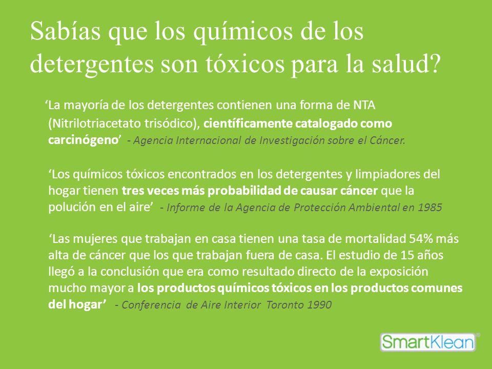 Sabías que los químicos de los detergentes son tóxicos para la salud? La mayoría de los detergentes contienen una forma de NTA (Nitrilotriacetato tris