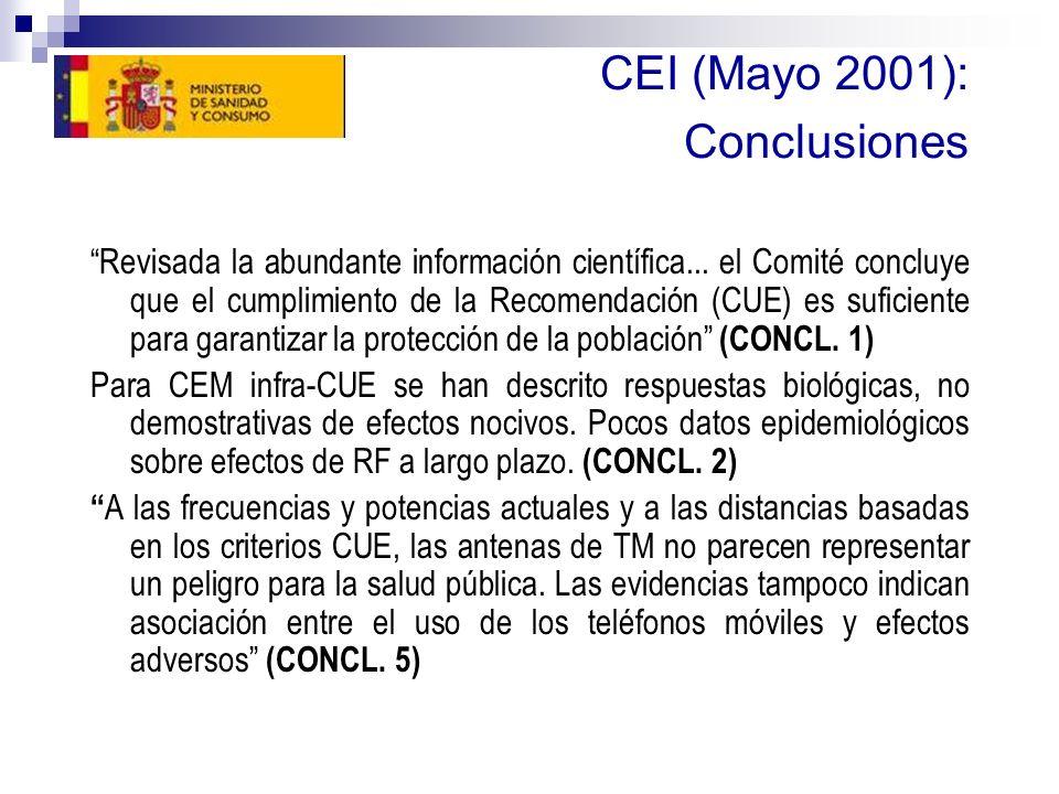 CEI (Mayo 2001): Conclusiones Revisada la abundante información científica... el Comité concluye que el cumplimiento de la Recomendación (CUE) es sufi