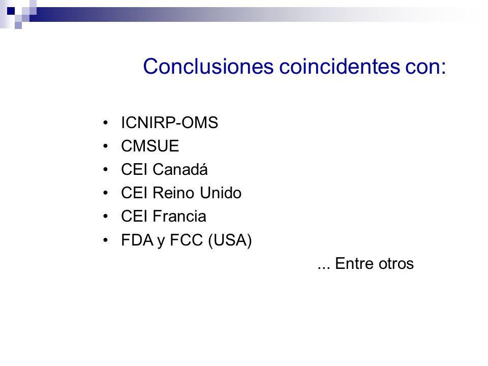 Conclusiones coincidentes con: ICNIRP-OMS CMSUE CEI Canadá CEI Reino Unido CEI Francia FDA y FCC (USA)... Entre otros