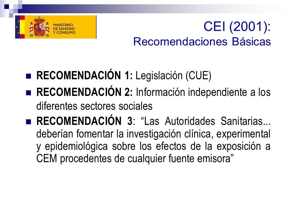 CEI (2001): Recomendaciones Básicas RECOMENDACIÓN 1: Legislación (CUE) RECOMENDACIÓN 2: Información independiente a los diferentes sectores sociales RECOMENDACIÓN 3 : Las Autoridades Sanitarias...