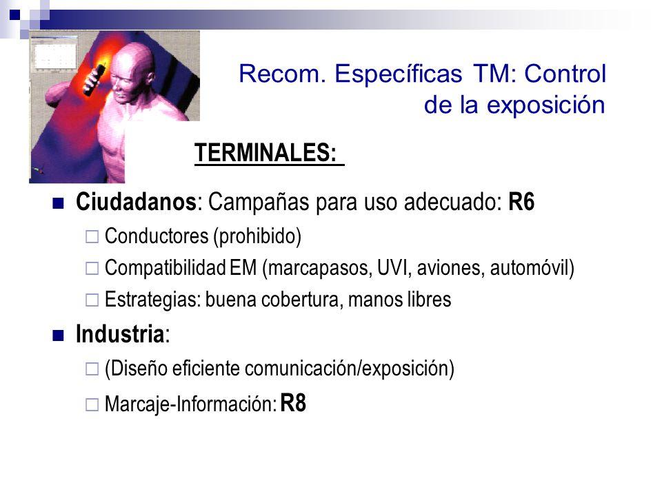 Recom. Específicas TM: Control de la exposición Ciudadanos : Campañas para uso adecuado: R6 Conductores (prohibido) Compatibilidad EM (marcapasos, UVI