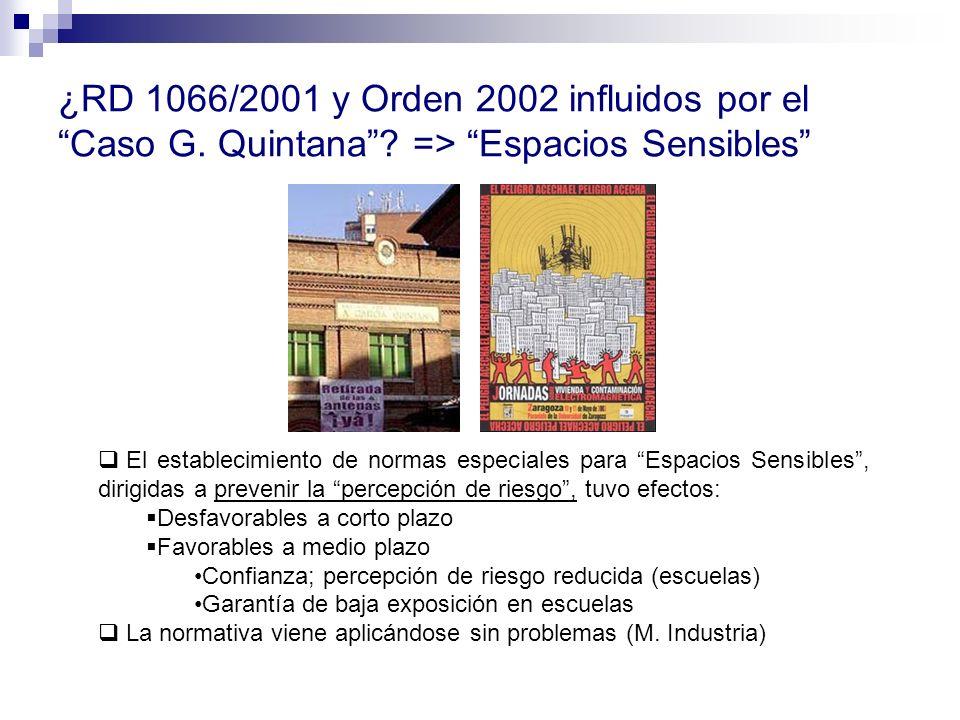 ¿RD 1066/2001 y Orden 2002 influidos por el Caso G. Quintana? => Espacios Sensibles El establecimiento de normas especiales para Espacios Sensibles, d