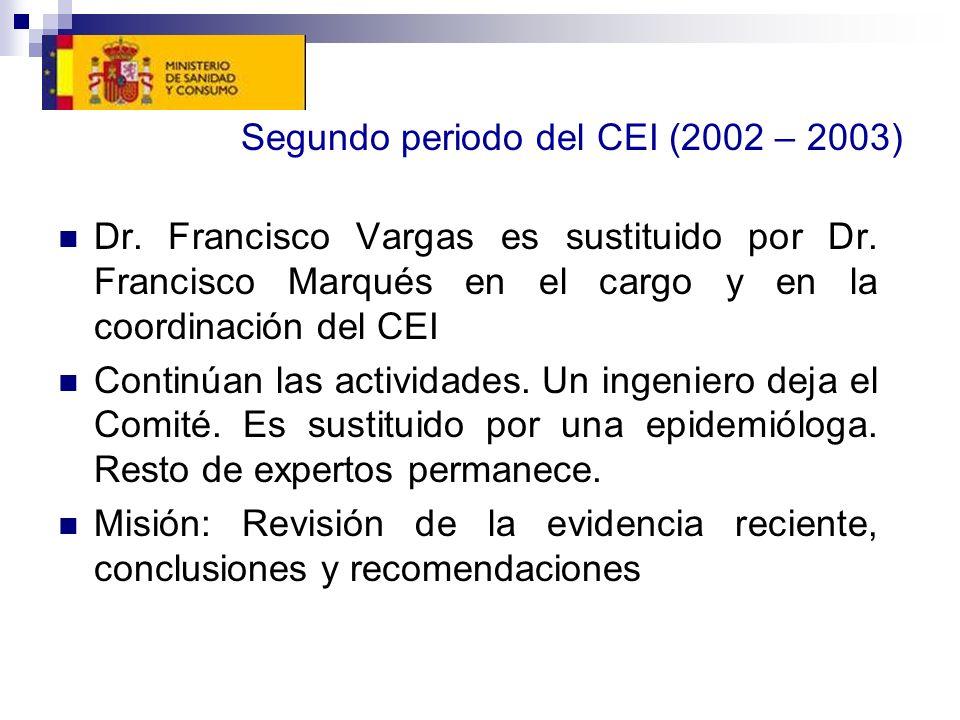 Segundo periodo del CEI (2002 – 2003) Dr. Francisco Vargas es sustituido por Dr. Francisco Marqués en el cargo y en la coordinación del CEI Continúan