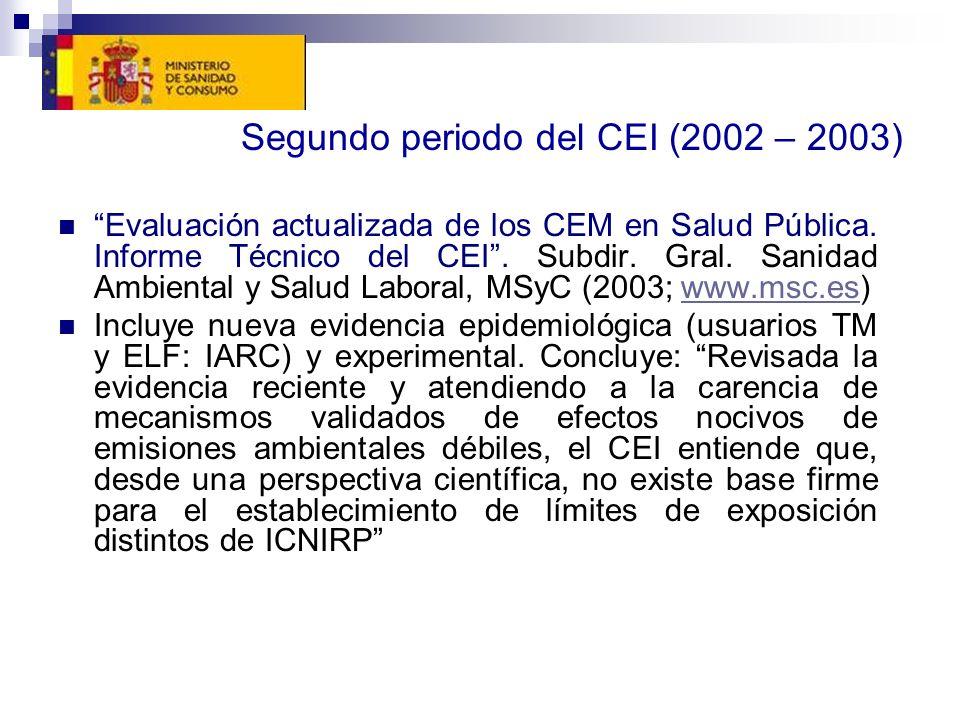 Segundo periodo del CEI (2002 – 2003) Evaluación actualizada de los CEM en Salud Pública. Informe Técnico del CEI. Subdir. Gral. Sanidad Ambiental y S