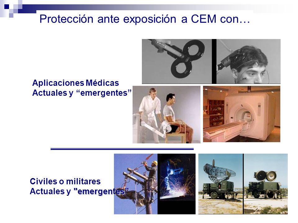 Aplicaciones Médicas Actuales y emergentes Protección ante exposición a CEM con… Civiles o militares emergentes Actuales y emergentes