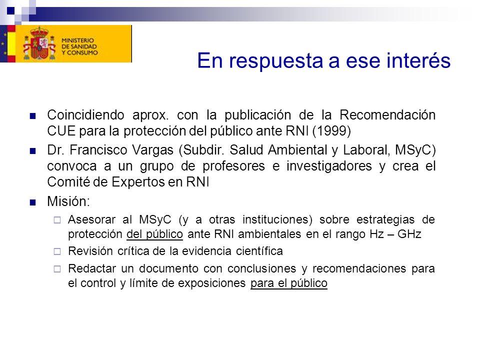 En respuesta a ese interés Coincidiendo aprox. con la publicación de la Recomendación CUE para la protección del público ante RNI (1999) Dr. Francisco