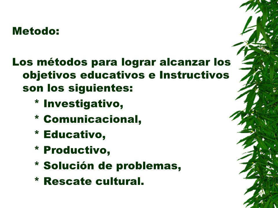 Metodo: Los métodos para lograr alcanzar los objetivos educativos e Instructivos son los siguientes: * Investigativo, * Comunicacional, * Educativo, *