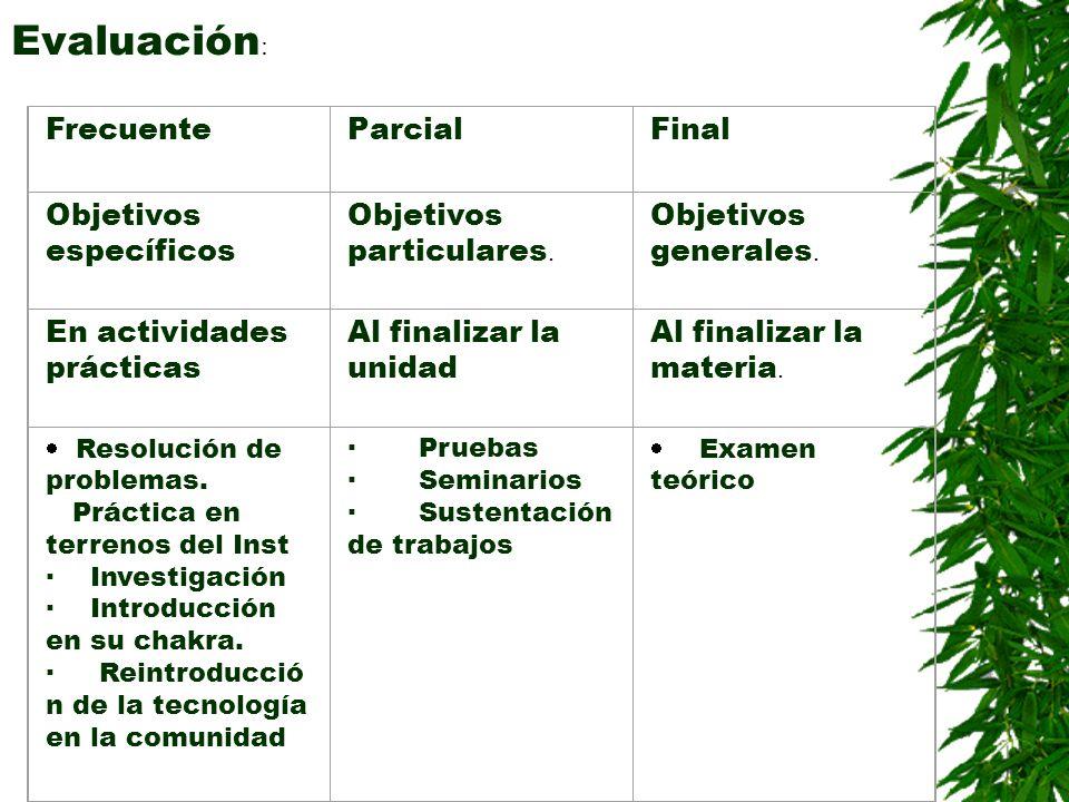 Evaluación : FrecuenteParcialFinal Objetivos específicos Objetivos particulares. Objetivos generales. En actividades prácticas Al finalizar la unidad