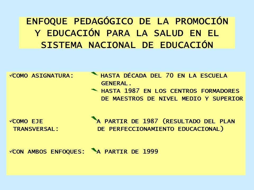 ENFOQUE PEDAGÓGICO DE LA PROMOCIÓN Y EDUCACIÓN PARA LA SALUD EN EL SISTEMA NACIONAL DE EDUCACIÓN COMO ASIGNATURA: HASTA DÉCADA DEL 70 EN LA ESCUELA GE