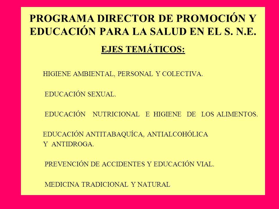 PROGRAMA DIRECTOR DE PROMOCIÓN Y EDUCACIÓN PARA LA SALUD EN EL S. N.E. EJES TEMÁTICOS: HIGIENE AMBIENTAL, PERSONAL Y COLECTIVA. EDUCACIÓN SEXUAL. EDUC