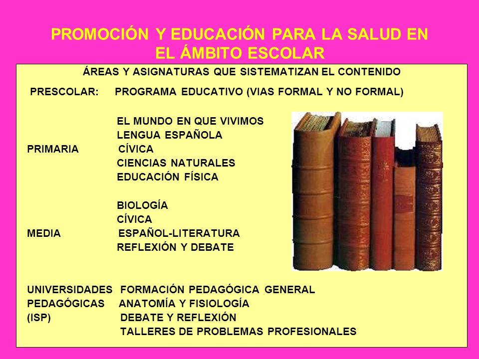 PROMOCIÓN Y EDUCACIÓN PARA LA SALUD EN EL ÁMBITO ESCOLAR ÁREAS Y ASIGNATURAS QUE SISTEMATIZAN EL CONTENIDO PRESCOLAR: PROGRAMA EDUCATIVO (VIAS FORMAL