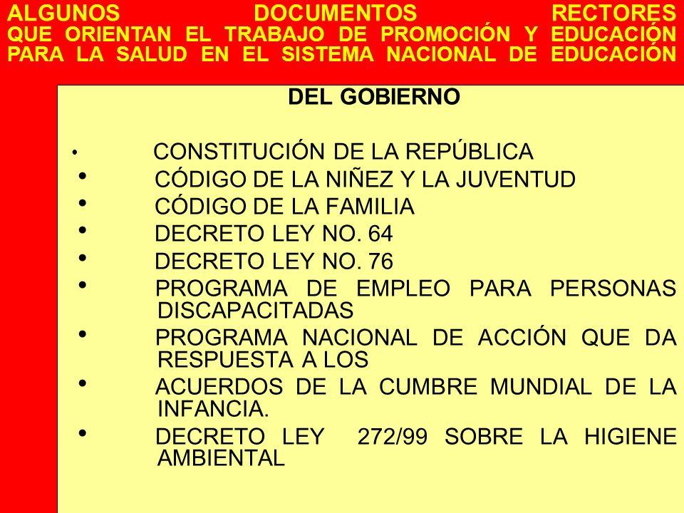 DEL GOBIERNO CONSTITUCIÓN DE LA REPÚBLICA CÓDIGO DE LA NIÑEZ Y LA JUVENTUD CÓDIGO DE LA FAMILIA DECRETO LEY NO. 64 DECRETO LEY NO. 76 PROGRAMA DE EMPL