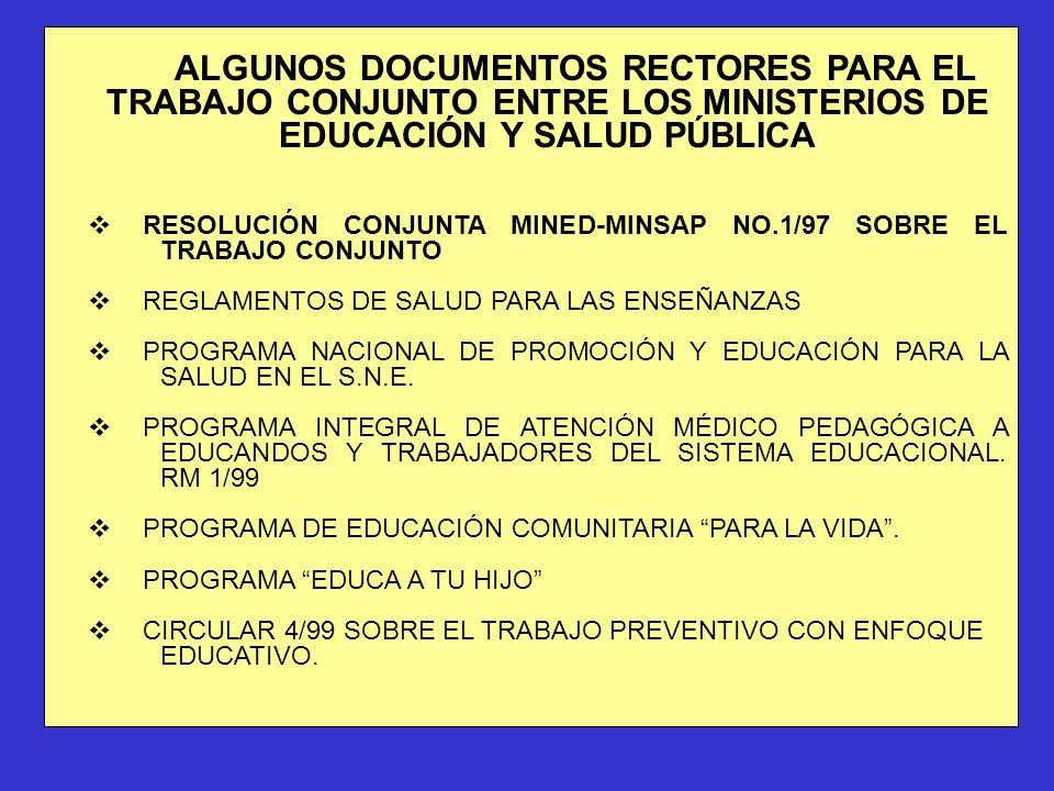 ALGUNOS DOCUMENTOS RECTORES PARA EL TRABAJO CONJUNTO ENTRE LOS MINISTERIOS DE EDUCACIÓN Y SALUD PÚBLICA vRESOLUCIÓN CONJUNTA MINED-MINSAP NO.1/97 SOBR
