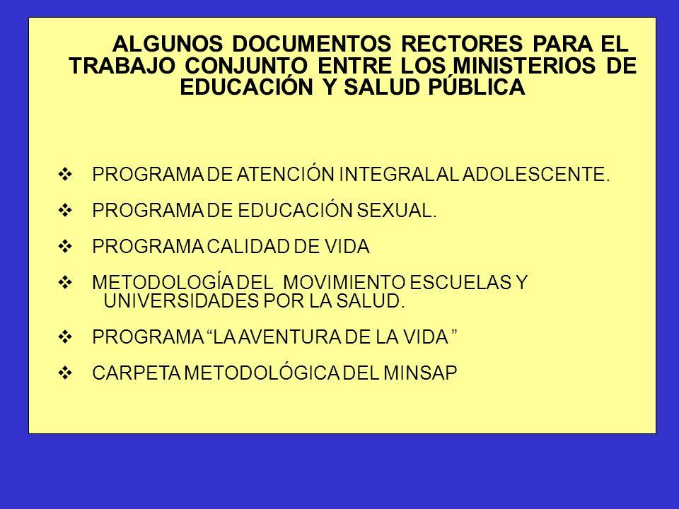 ALGUNOS DOCUMENTOS RECTORES PARA EL TRABAJO CONJUNTO ENTRE LOS MINISTERIOS DE EDUCACIÓN Y SALUD PÚBLICA vPROGRAMA DE ATENCIÓN INTEGRAL AL ADOLESCENTE.