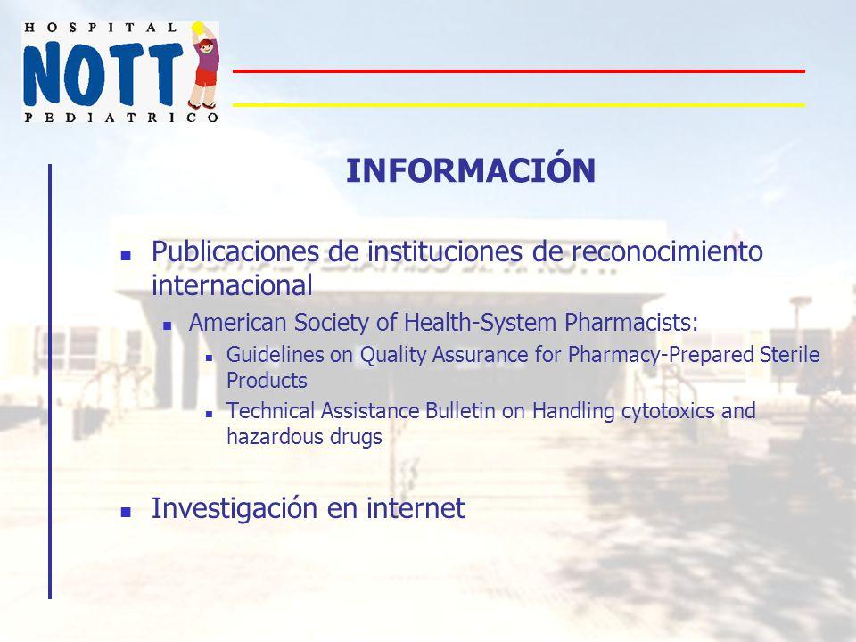 INFORMACIÓN Publicaciones de instituciones de reconocimiento internacional American Society of Health-System Pharmacists: Guidelines on Quality Assura