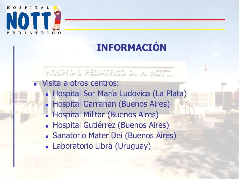 INFORMACIÓN Visita a otros centros: Hospital Sor María Ludovica (La Plata) Hospital Garrahan (Buenos Aires) Hospital Militar (Buenos Aires) Hospital G
