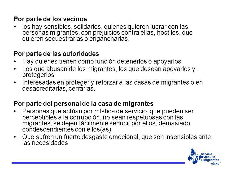 Por parte de los vecinos los hay sensibles, solidarios, quienes quieren lucrar con las personas migrantes, con prejuicios contra ellas, hostiles, que
