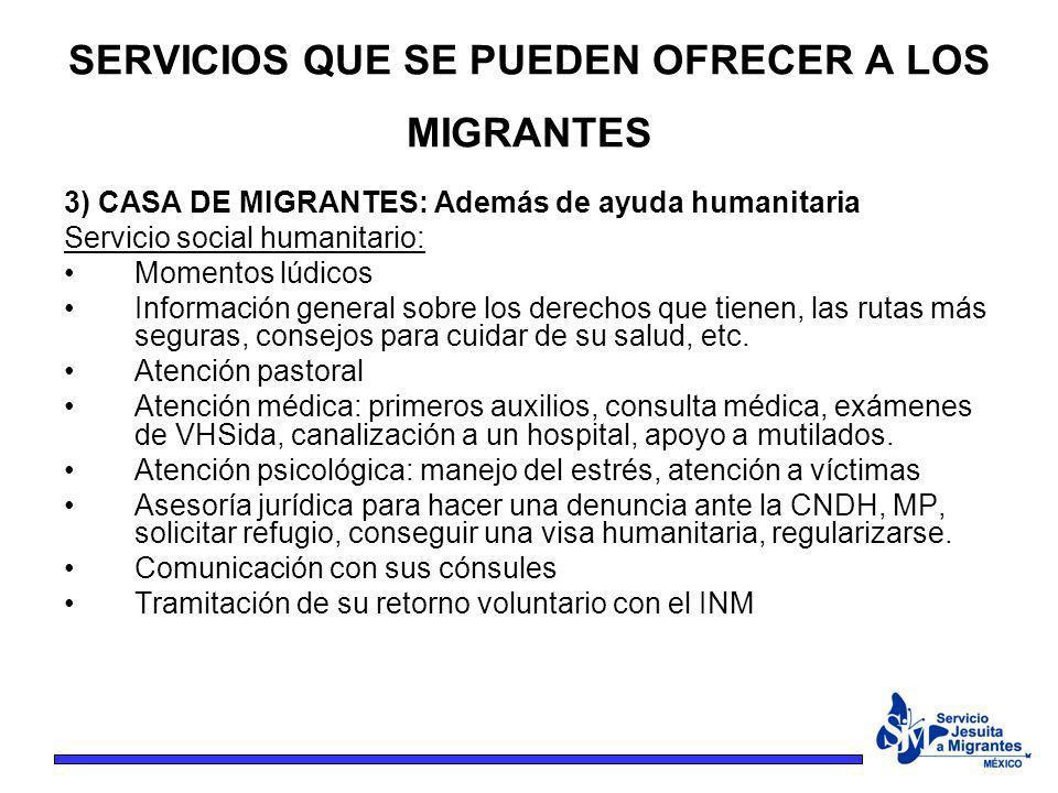 3) CASA DE MIGRANTES: Además de ayuda humanitaria Servicio social humanitario: Momentos lúdicos Información general sobre los derechos que tienen, las
