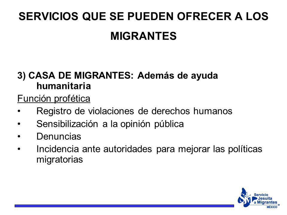 3) CASA DE MIGRANTES: Además de ayuda humanitaria Función profética Registro de violaciones de derechos humanos Sensibilización a la opinión pública D